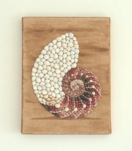 Nautilus Shell in Seashell Mosaic on Sand - 30 x 40cms - available to purchase from my online Etsy shop.