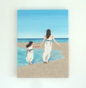 Custom Artwork - Mother & Daughter on the beach painting with Seashell Mosaic & Sand - 30 x 40cms. Commissioned from my Etsy shop