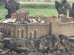 One of the miniature buildings,cleverly created and situated by the sea in Georgioupoli.