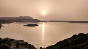 With all the dust in the air.. the sunset from my balcony lokks like an old sepia photograph.