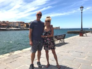Charlie & me on Chania's deserted harbour front