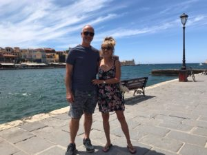 Charlie & I on Chania's deserted harbour front.