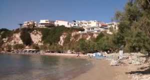 One of Almyrida's beaches - without tourists - rows of empty sunbeds.