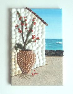 Typically Greek and popular with tourists - Seashell Mosaic Painting 20 x 30cms