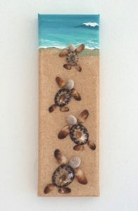 Consistently sells well - the Baby Turtles Seashell Mosaic Painting with sand, 10 x 30cms