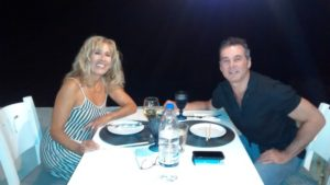 Mark and I dining at Umami - my Favourite restaurant in Almyrida
