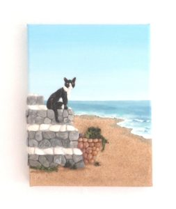 Popular this summer - Cat on Steps in Seashell Mosaic Painting