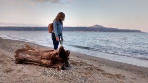 Personal exercise walks on Kalyves beach.