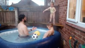 Ash with Ralph & Neve in their hot tub.