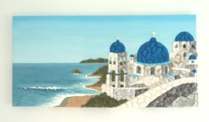 Santorini Scene in Seashell Mosaic Collage - 25 x 50cms - Available to purchase from my Etsy shop
