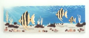 Underwater Scene with Altum Angelfish in Seashell Mosaic & Collage Painting - size 20 x 60cms