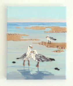 Sold last week in Almyrida - Love Seagulls Seashell Mosaic Painting