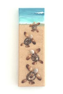 Always a best seller! Baby turtles Race for Life Seashell Mosaic Painting