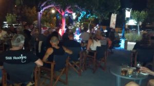 At Carl Axon's birthday gig at Posti de Cafe in Kavros.