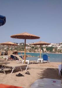 Relaxing on one of Almyrida's beaches after swimming