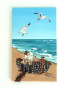 Not normally for my beach stall, sold this September. Fisherman, boat & Seagulls in Seashell Mosaic Painting