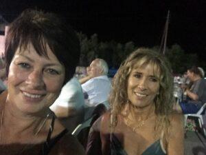 Lisa and I enjoying the music at the Gavalochori Festival